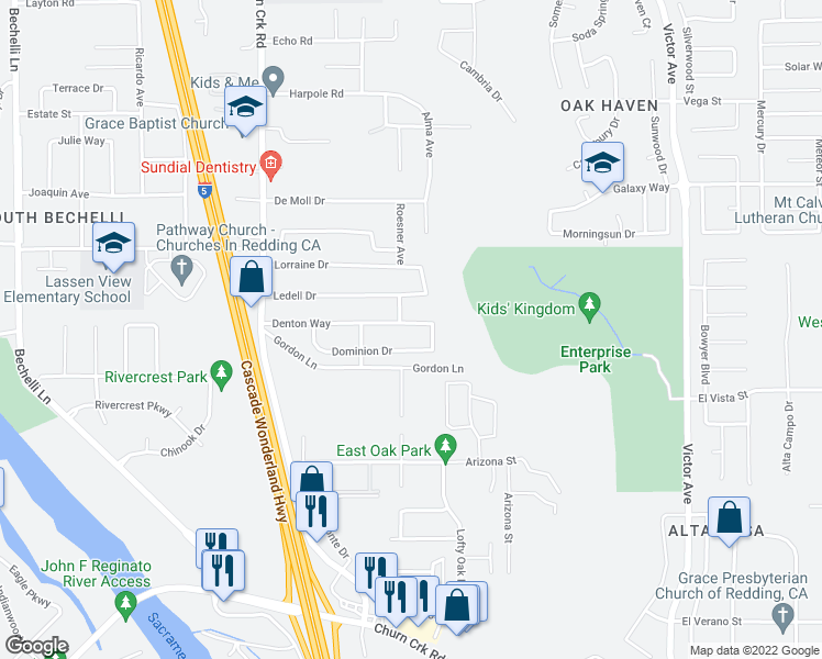 map of restaurants, bars, coffee shops, grocery stores, and more near 1355 Denton Way in Redding