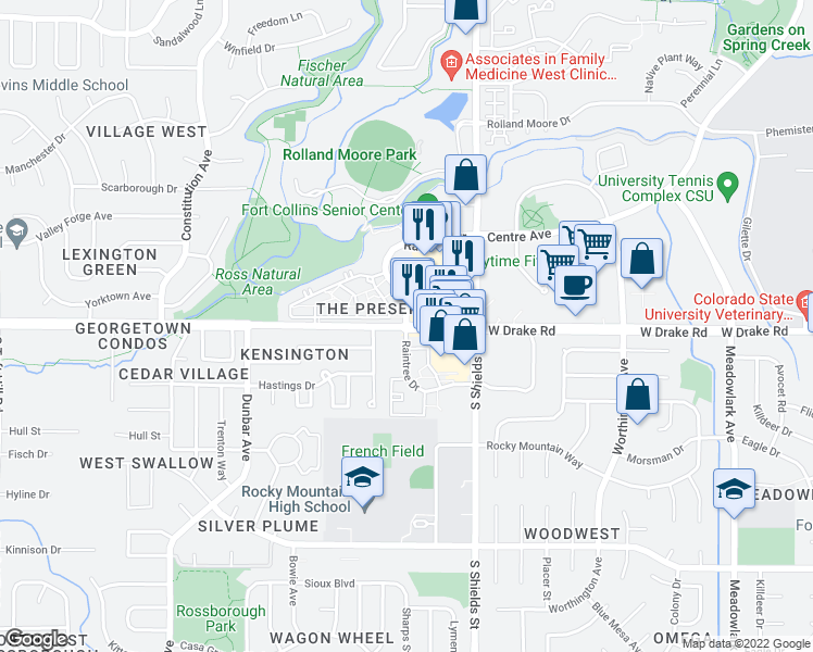 map of restaurants, bars, coffee shops, grocery stores, and more near West Drake Road & Raintree Drive in Fort Collins