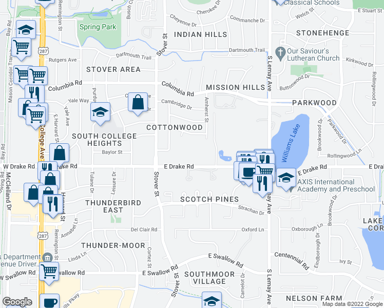 map of restaurants, bars, coffee shops, grocery stores, and more near 700 East Drake Road in Fort Collins