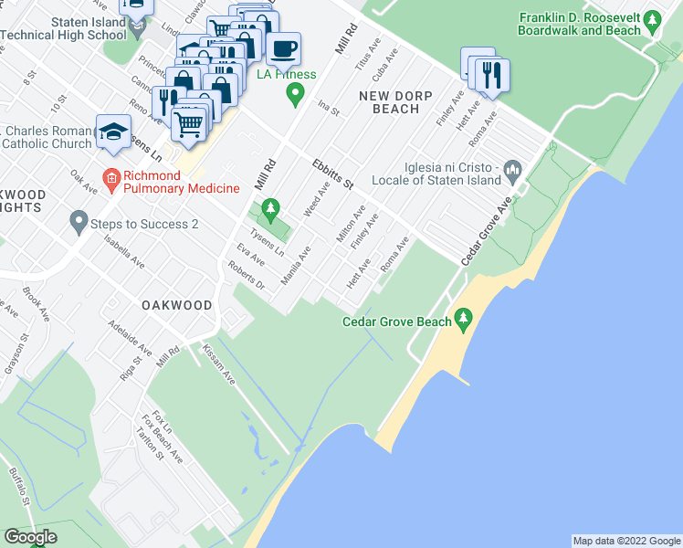 map of restaurants, bars, coffee shops, grocery stores, and more near 288 Finley Avenue in Staten Island