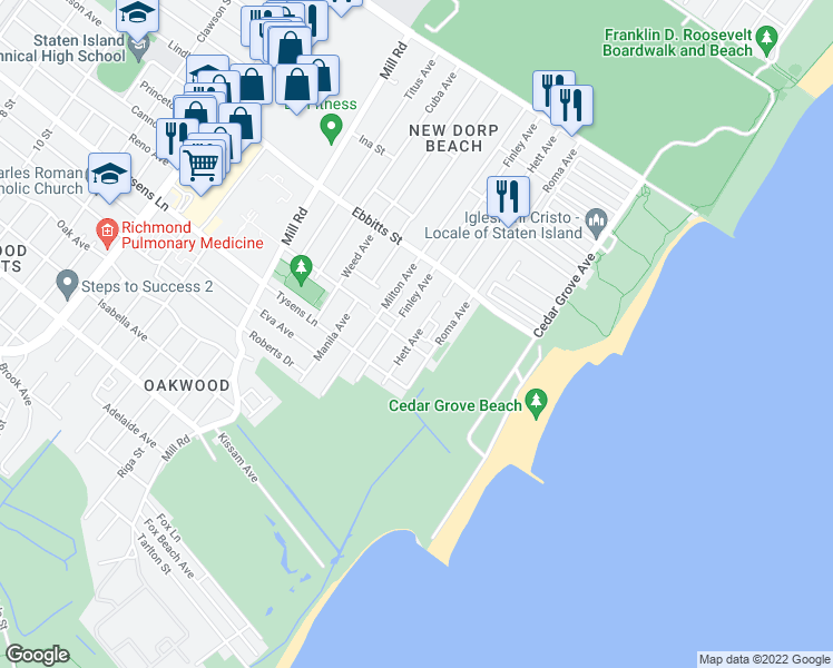 map of restaurants, bars, coffee shops, grocery stores, and more near Hett Avenue in Staten Island