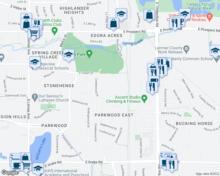 map of restaurants, bars, coffee shops, grocery stores, and more near 1720 Kirkwood Drive in Fort Collins