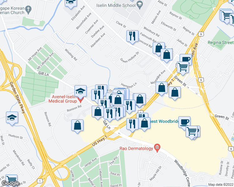 map of restaurants, bars, coffee shops, grocery stores, and more near 701-731 Cheryl Drive in Woodbridge Township