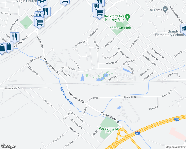 map of restaurants, bars, coffee shops, grocery stores, and more near Kensington Drive in Piscataway