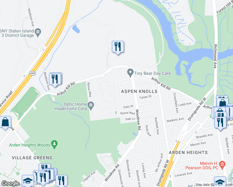 map of restaurants, bars, coffee shops, grocery stores, and more near 311 Aspen Knolls Way in Staten Island