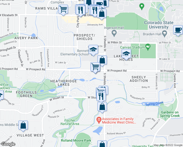 map of restaurants, bars, coffee shops, grocery stores, and more near 1121 West Prospect Road in Fort Collins