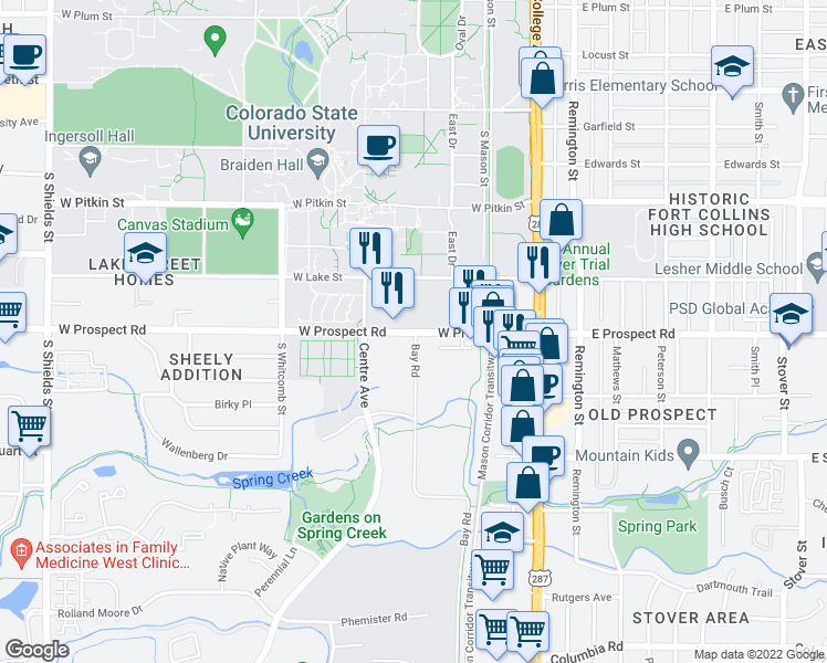 map of restaurants, bars, coffee shops, grocery stores, and more near 304 West Prospect Road in Fort Collins