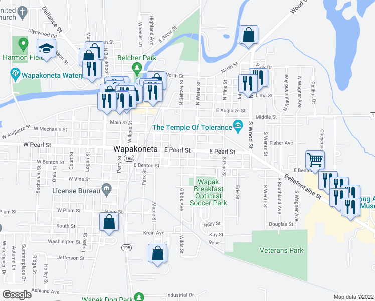 map of restaurants, bars, coffee shops, grocery stores, and more near East Pearl Street in Wapakoneta