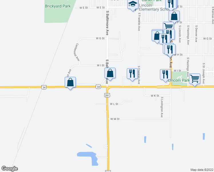 map of restaurants, bars, coffee shops, grocery stores, and more near 1225-1263 American Legion Memorial Highway in Hastings