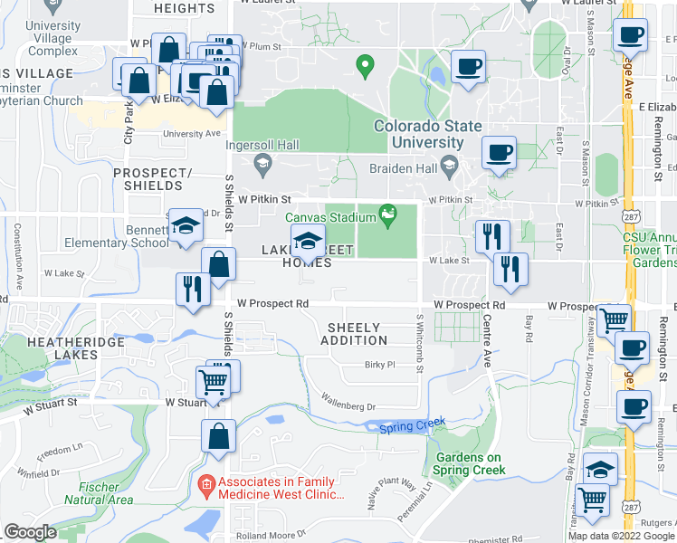 map of restaurants, bars, coffee shops, grocery stores, and more near 776-798 West Lake Street in Fort Collins
