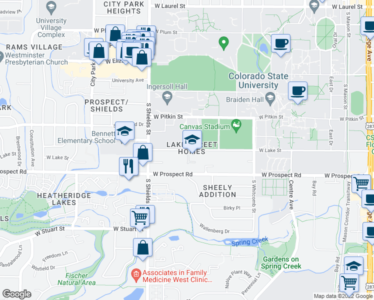 map of restaurants, bars, coffee shops, grocery stores, and more near 914 West Lake Street in Fort Collins