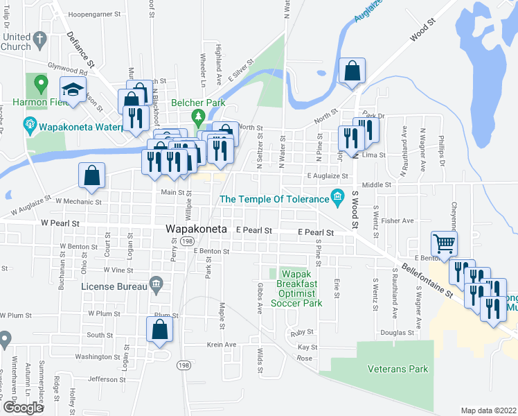 map of restaurants, bars, coffee shops, grocery stores, and more near East Mechanic Street in Wapakoneta