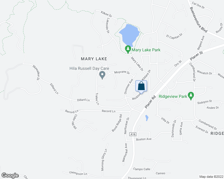 map of restaurants, bars, coffee shops, grocery stores, and more near 1974 Kinvarra Way in Redding