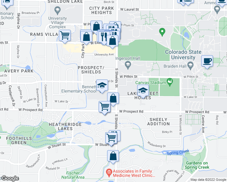map of restaurants, bars, coffee shops, grocery stores, and more near 1412 South Shields Street in Fort Collins