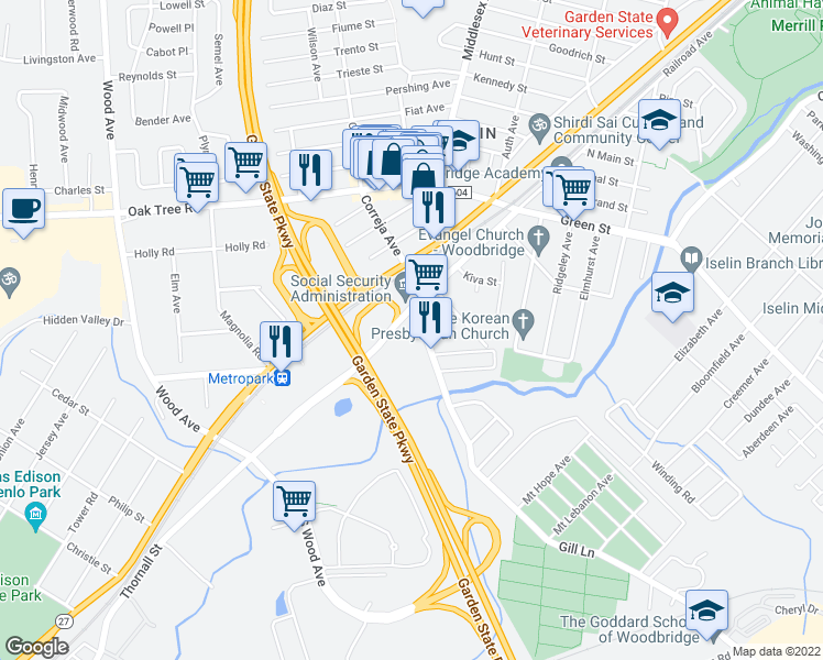 map of restaurants, bars, coffee shops, grocery stores, and more near 20 Gill Lane in Woodbridge Township