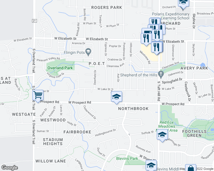map of restaurants, bars, coffee shops, grocery stores, and more near 1306 Cypress Drive in Fort Collins