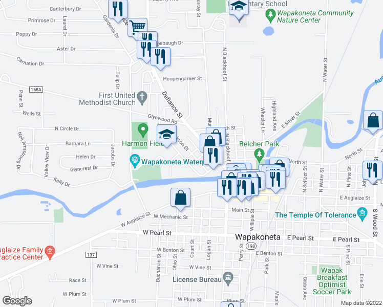 map of restaurants, bars, coffee shops, grocery stores, and more near Jackson Street in Wapakoneta