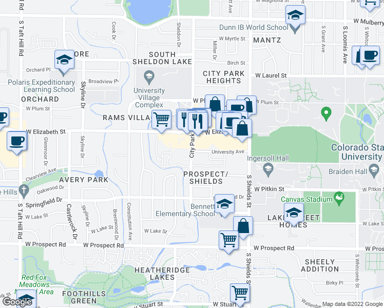 map of restaurants, bars, coffee shops, grocery stores, and more near 1324 West Elizabeth Street in Fort Collins
