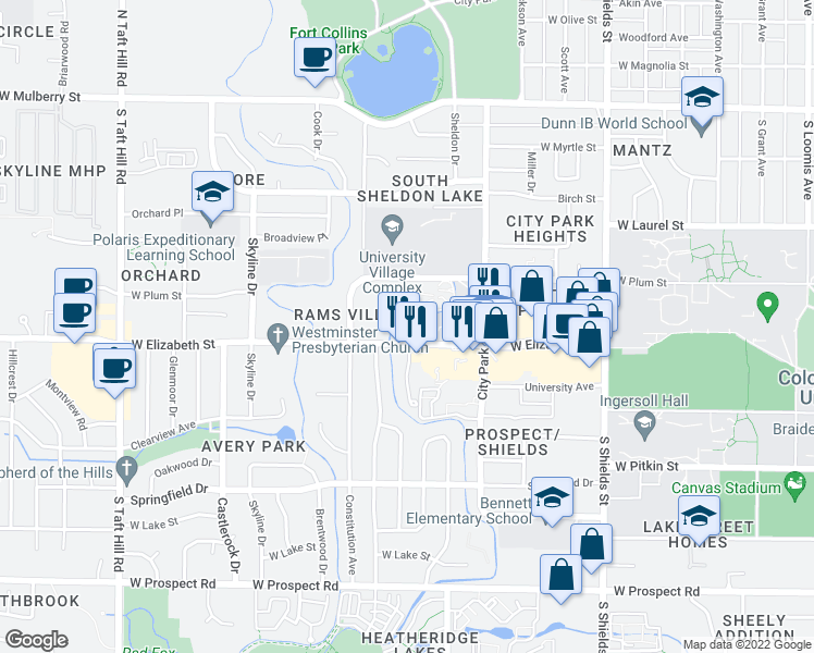 map of restaurants, bars, coffee shops, grocery stores, and more near 1508 West Elizabeth Street in Fort Collins