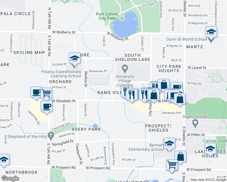map of restaurants, bars, coffee shops, grocery stores, and more near 13 Constitution Avenue in Fort Collins