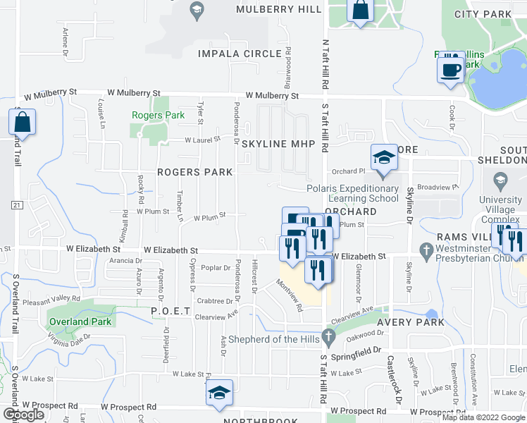 map of restaurants, bars, coffee shops, grocery stores, and more near 2299 West Plum Street in Fort Collins