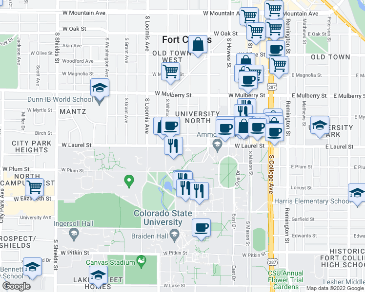 map of restaurants, bars, coffee shops, grocery stores, and more near 551 West Laurel Street in Fort Collins