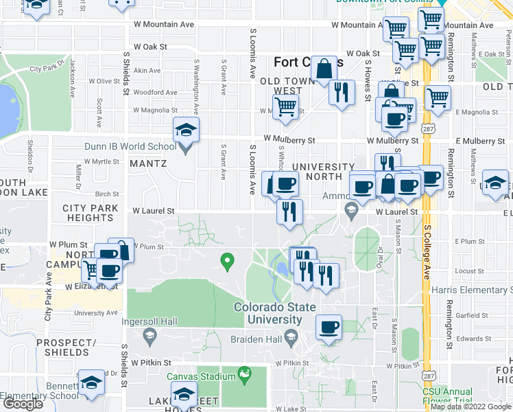 map of restaurants, bars, coffee shops, grocery stores, and more near 628 West Laurel Street in Fort Collins