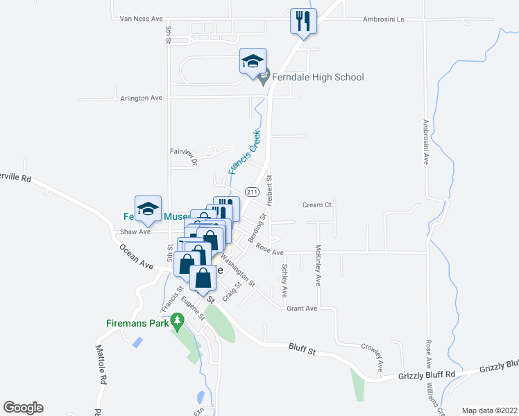 map of restaurants, bars, coffee shops, grocery stores, and more near 664 Fern Avenue in Ferndale