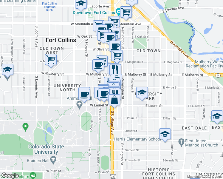 map of restaurants, bars, coffee shops, grocery stores, and more near 612 South College Avenue in Fort Collins