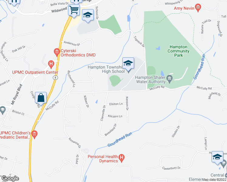 map of restaurants, bars, coffee shops, grocery stores, and more near 2930 McCully Road in Hampton Township