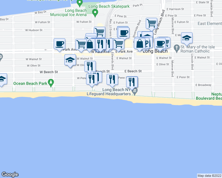 map of restaurants, bars, coffee shops, grocery stores, and more near 10 West Broadway in Long Beach