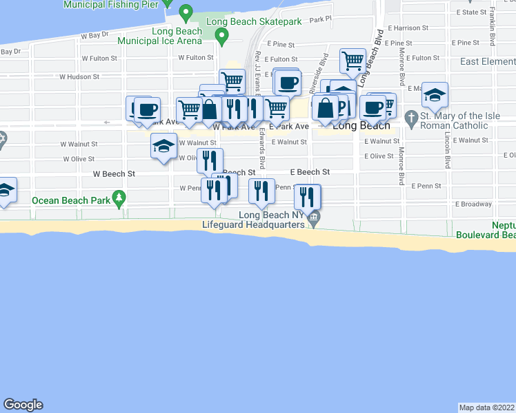map of restaurants, bars, coffee shops, grocery stores, and more near Boardwalk in Long Beach