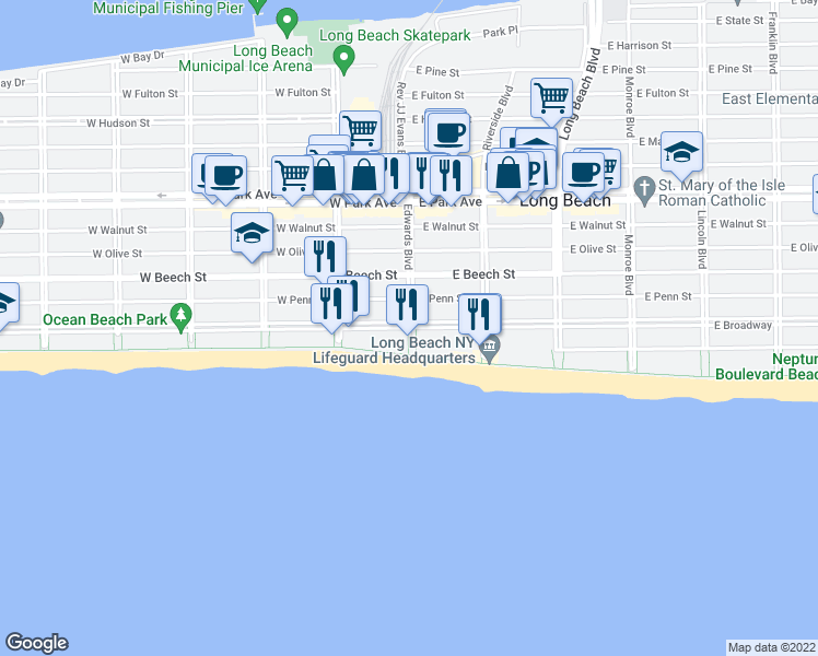 map of restaurants, bars, coffee shops, grocery stores, and more near 26 West Broadway in Long Beach