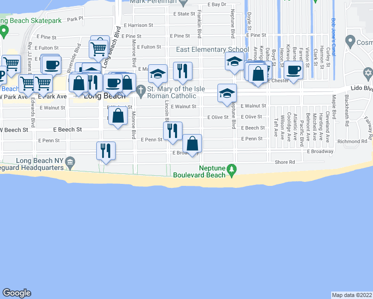 map of restaurants, bars, coffee shops, grocery stores, and more near East Broadway in Long Beach