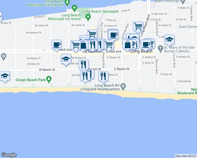 map of restaurants, bars, coffee shops, grocery stores, and more near 25 West Broadway in Long Beach