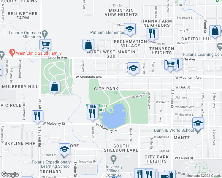 map of restaurants, bars, coffee shops, grocery stores, and more near in Fort Collins