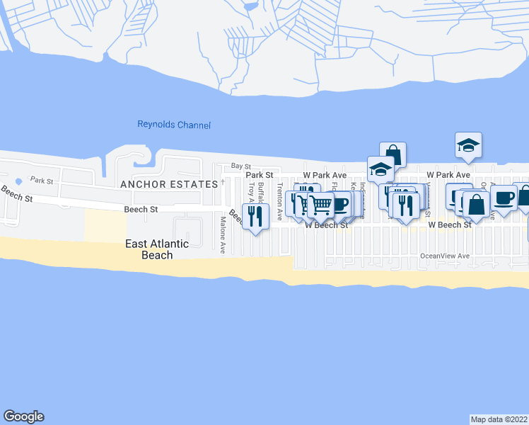 map of restaurants, bars, coffee shops, grocery stores, and more near 66 Buffalo Avenue in East Atlantic Beach