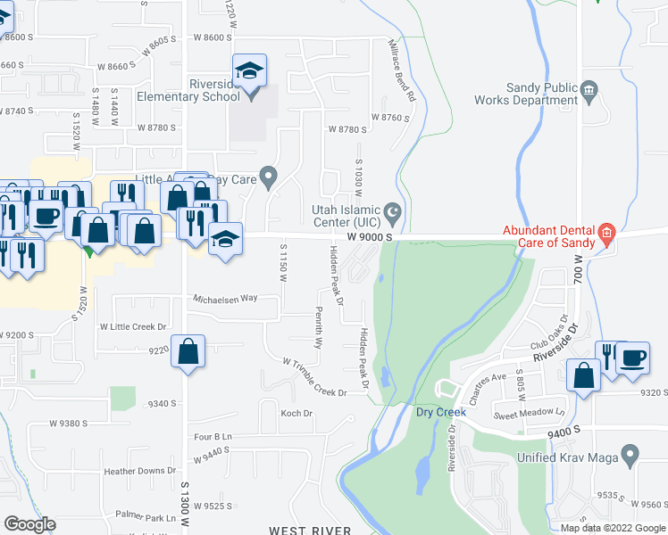 map of restaurants, bars, coffee shops, grocery stores, and more near 1085 9000 South in West Jordan