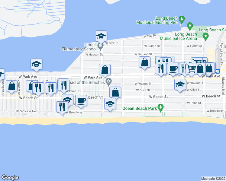 map of restaurants, bars, coffee shops, grocery stores, and more near 534 West Olive Street in Long Beach