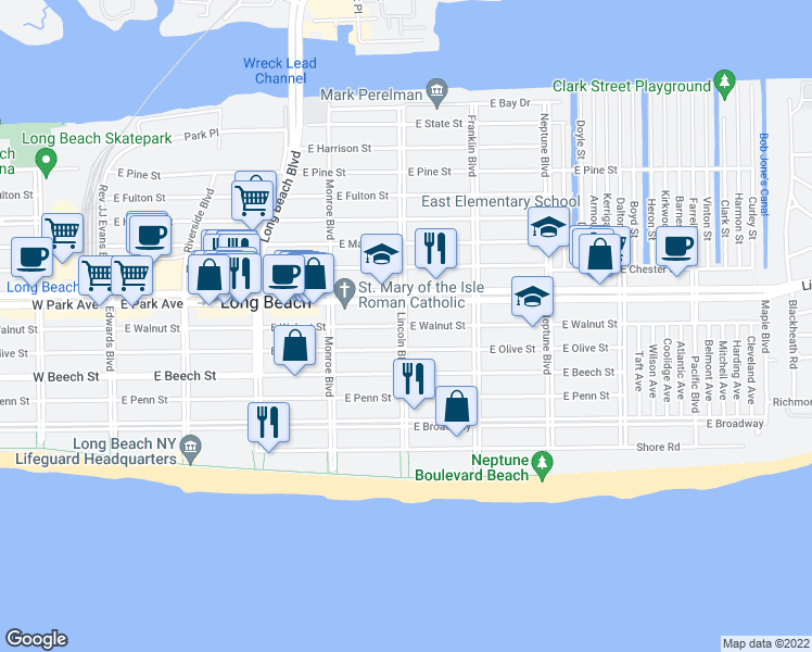 map of restaurants, bars, coffee shops, grocery stores, and more near Lincoln Blvd & E Walnut St in Long Beach