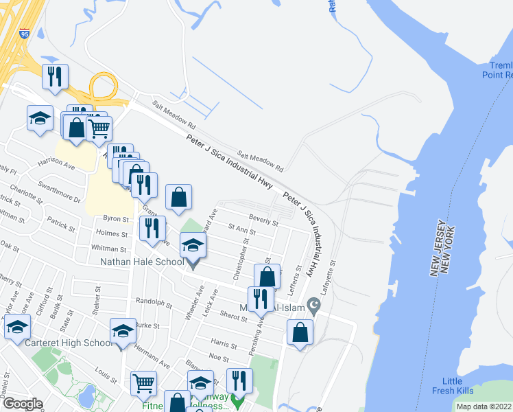 map of restaurants, bars, coffee shops, grocery stores, and more near 90 Bristol Station Court in Carteret
