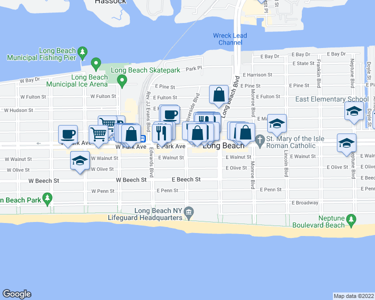 map of restaurants, bars, coffee shops, grocery stores, and more near 310 Riverside Boulevard in Long Beach