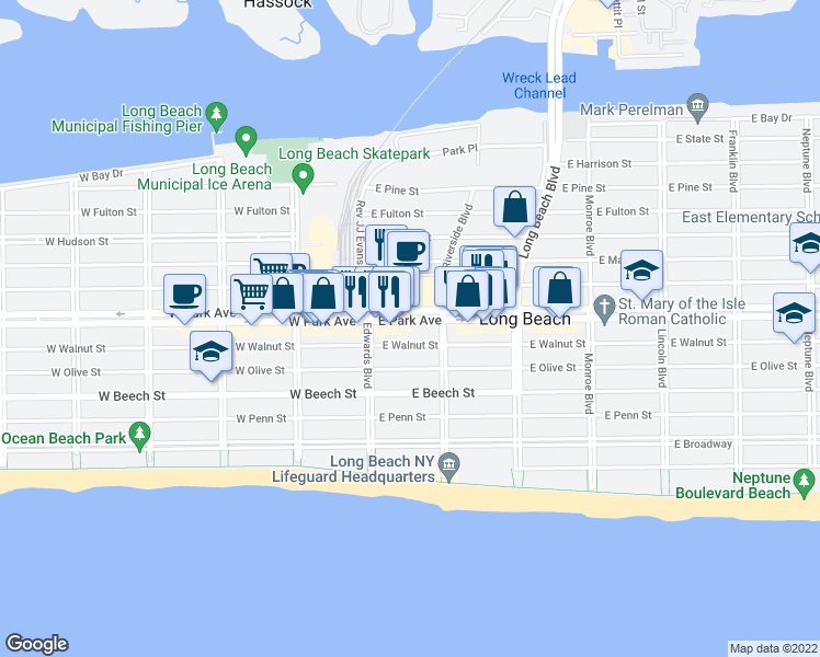 map of restaurants, bars, coffee shops, grocery stores, and more near 46 E Park Ave in Long Beach