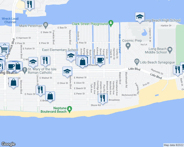 map of restaurants, bars, coffee shops, grocery stores, and more near 718 East Park Avenue in Long Beach