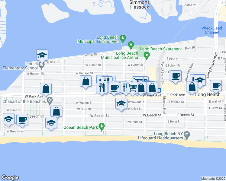 map of restaurants, bars, coffee shops, grocery stores, and more near 235 West Park Avenue in Long Beach