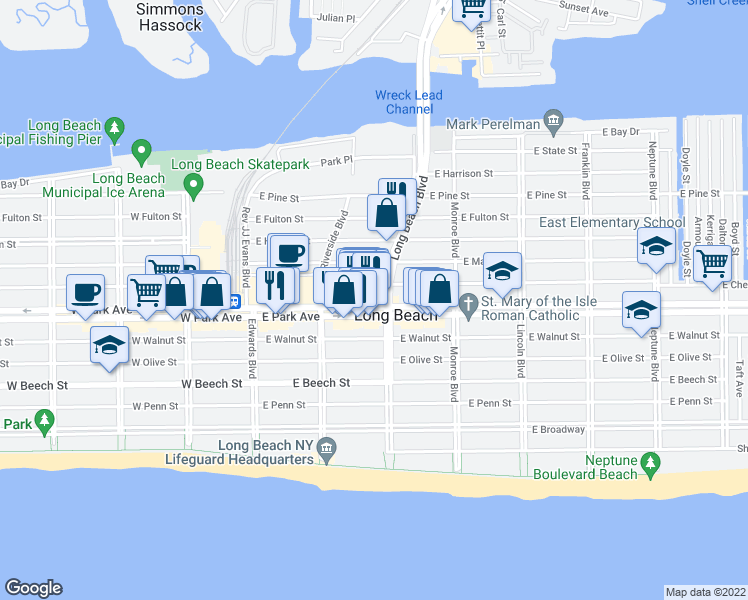 map of restaurants, bars, coffee shops, grocery stores, and more near 171 East Park Avenue in Long Beach