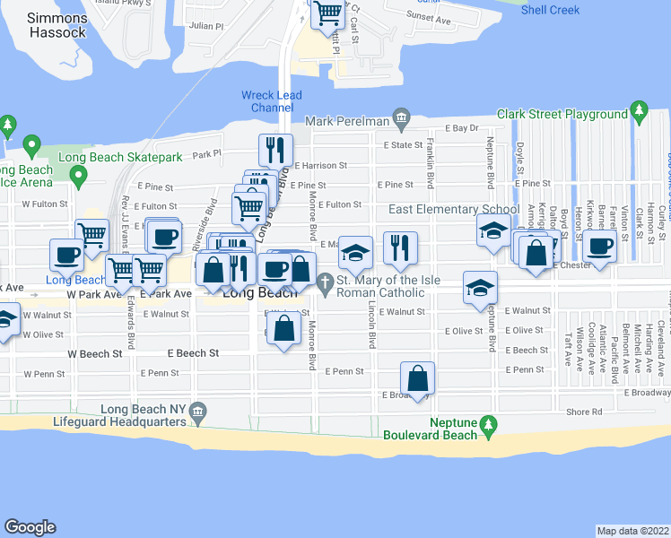 map of restaurants, bars, coffee shops, grocery stores, and more near 328 East Chester Street in Long Beach