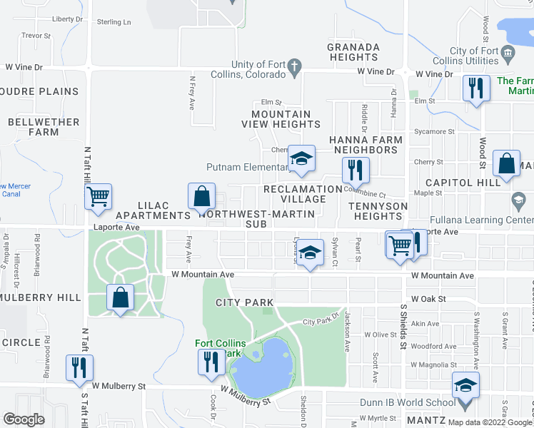 map of restaurants, bars, coffee shops, grocery stores, and more near 209 North Roosevelt Avenue in Fort Collins
