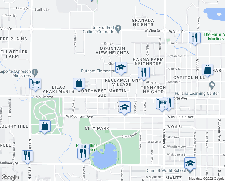 map of restaurants, bars, coffee shops, grocery stores, and more near 203 Bishop Street in Fort Collins