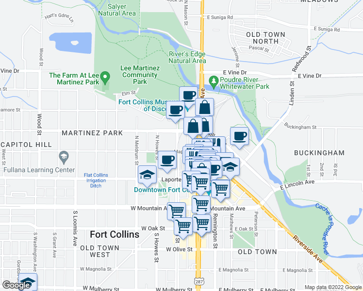 map of restaurants, bars, coffee shops, grocery stores, and more near 310 North Mason Street in Fort Collins